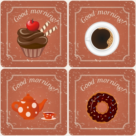 Illustration - Retro illustration with tea, cupcakes and a coffee  Vector
