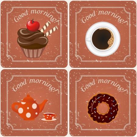 Illustration - Retro illustration with tea, cupcakes and a coffee  Illustration