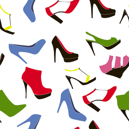 fetishes: Seamless background shoes on the white -  Illustration