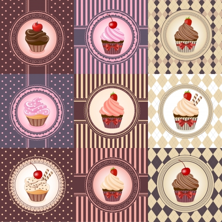 Set of cupcake on vintage background - vector illustration  Vector