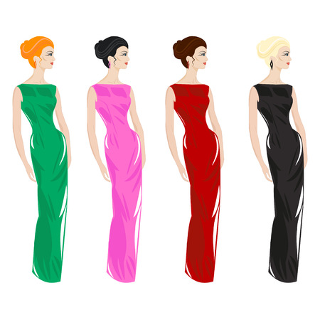 Women in evening dresses - Illustration Illustration
