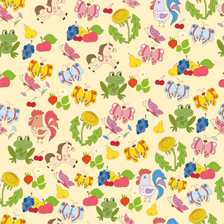 pattern with the image of animals - Illustration