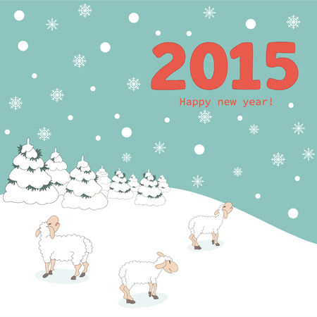 New year 2015 greeting card design - Illustration Illustration