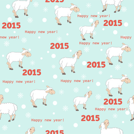 Seamless pattern with cute sheep - Illustration