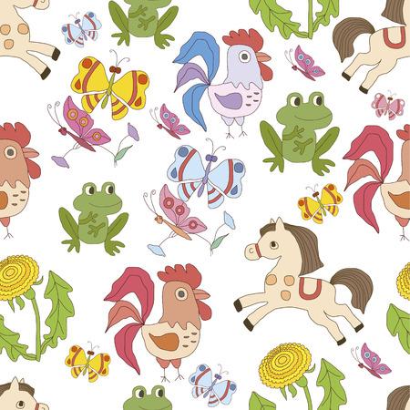 funny animal: Tarjeta de fondo sin fisuras con los animales divertidos