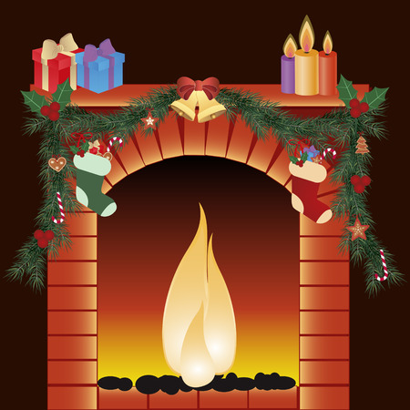 illustration of christmas decoration around fire place Vector