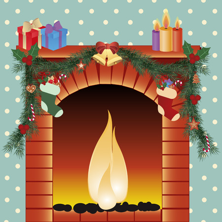 Christmas fireplace vector image Vector