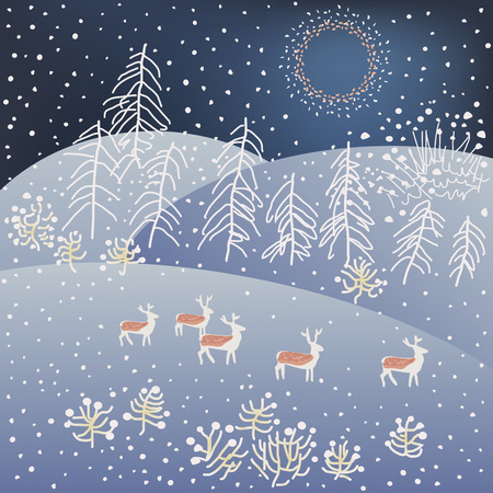 Winter Christmas forest with deers. Vector Illustration.