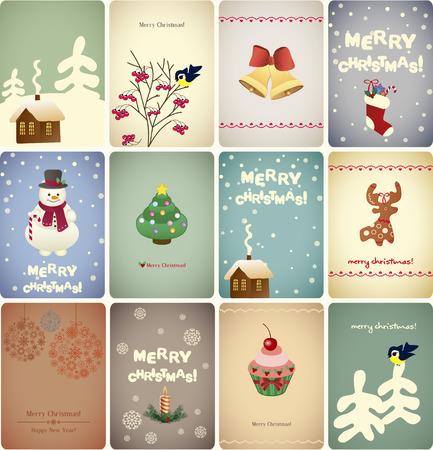 Set di cartoline di Natale. Illustrazione vettoriale. Archivio Fotografico - 34019048