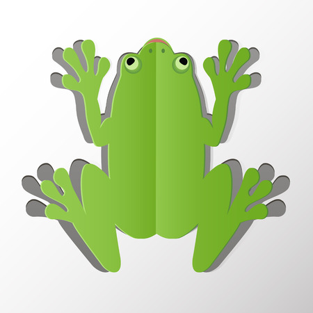 Green Frog Symbol with Paper Symbol. Vector Illustration