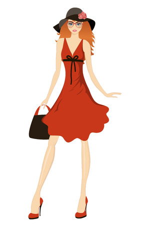Pretty girl posing in a wide hat. Vector illustration.