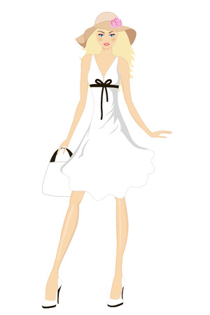 Pretty girl in white dress posing in a wide hat. Vector illustration.