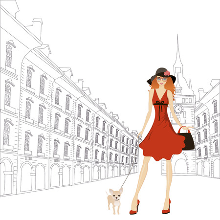 Girl with dog walking in the city. Vector illustration
