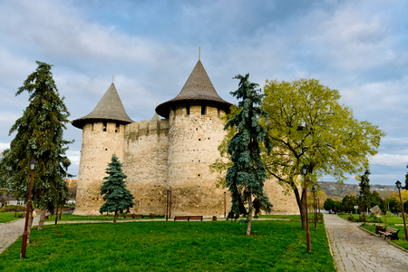 View of medieval fort in Soroca, Republic of Moldova. Stock Photo