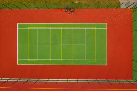 Aerial view of tennis court. Top view.