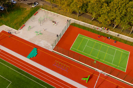 Aerial view of tennis court. Banque d'images