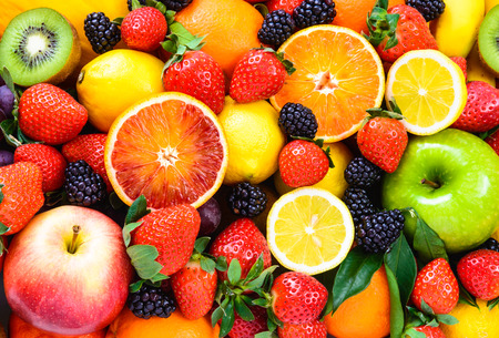 Fruits assorted background.