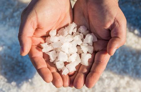 Sea salt production.Nature sea salt reserve in the Province of Trapani, Sicily. Stok Fotoğraf