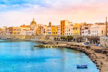 Trapani panoramic view of harbor, Sicily, Italy.