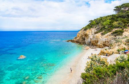 leghorn: Italy, Elba Island, panoramic view of beautiful beach.Elba island, Tuscany, Italy. Stock Photo