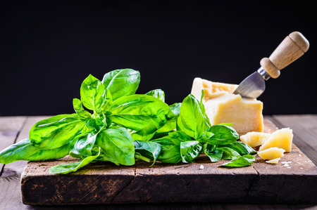 Basil and parmesan cheese.Italian food background. Stock Photo
