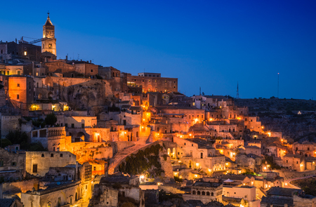 Matera panoramic view at night, Basilicata, Italy.Sassi of Matera.