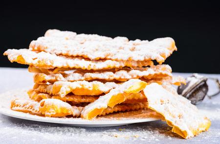 crostoli: Italian carnival pastry.Traditional carnival desserts crostoli.