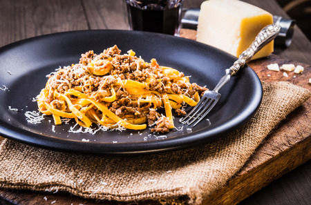 Pasta with meat sauce or pasta with ragu bolognese.Italian food.