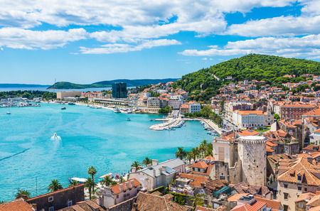 Panoramic view of town Split, Dalmatia, Croatia. 免版税图像