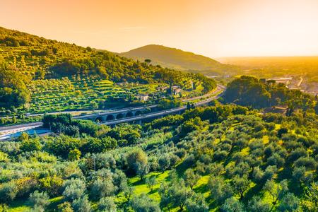 tuscany landscape: Tuscany landscape with panoramic view italian motorway, Tuscany, Italy Stock Photo