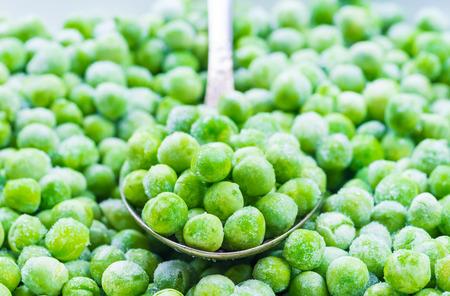 Green peas macro, frozen vegetables.