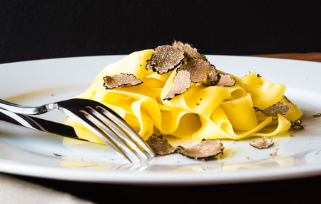 Pasta with truffles.Restaurant dish menu.