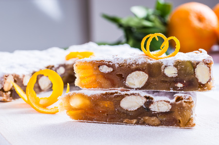 peppered: Panforte traditional italian christmas cake, fruitcake or peppered bread. Stock Photo