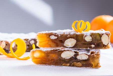 Panforte traditional italian christmas dessert, gingerbread. Stock Photo