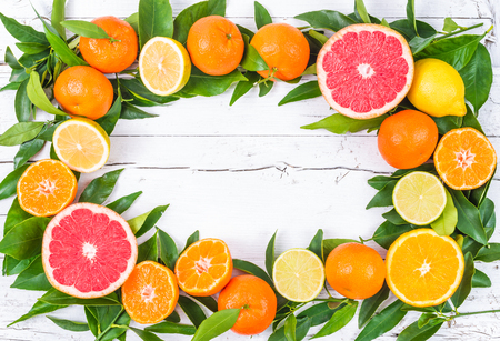 clementines: Mixed citrus fruits frame on white wood. Stock Photo