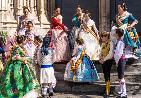 Traditional Spanish costumes in Fallas festival, Valencia, Spain.