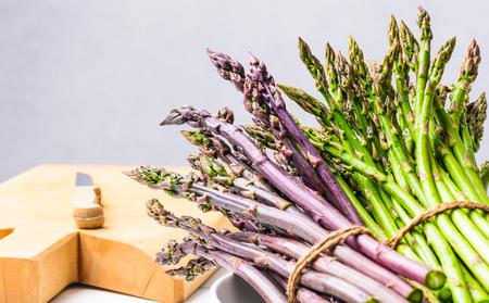 Fresh asparagus green and purple.