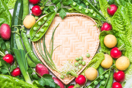 Vegetables flat lay heart shape. Copy space.Healthy clean eating, dieting, love organic vegetables concept.
