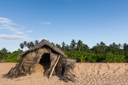 wry: Wry hut made of palm branches standing on the beach in Hikkaduwa, Sri Lanka