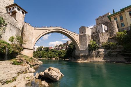MOSTAR, BOSNIA AND HERZEGOVINA - AUGUST 2016: Mostar Old Bridge Editorial