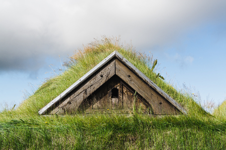 Grass covered roof of the Icelanding turf house.