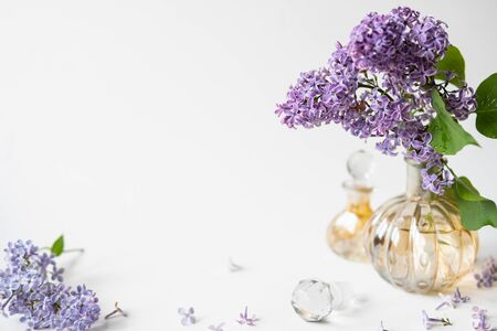 Purple lilac blossom standing in a small perfume bottle on white background. Spring flowers still life with copy space. Banque d'images