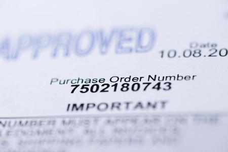 orden de compra: Orden de compra Macro con el sello y detalles aprobado Foto de archivo