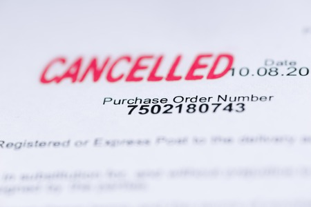 cancelled stamp: Macro Purchase order with cancelled stamp and details Stock Photo