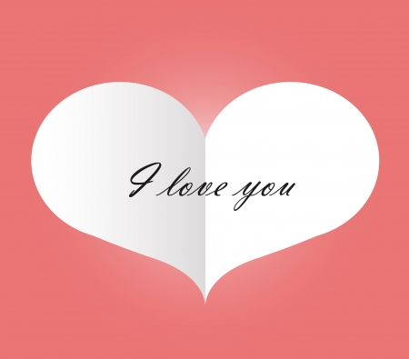 A white paper heart with  I love you  written on Ilustracja