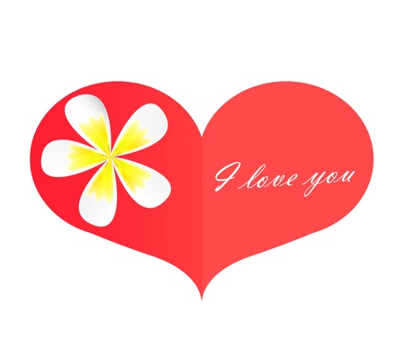 A red paper heart with frangipani flower and I love you on