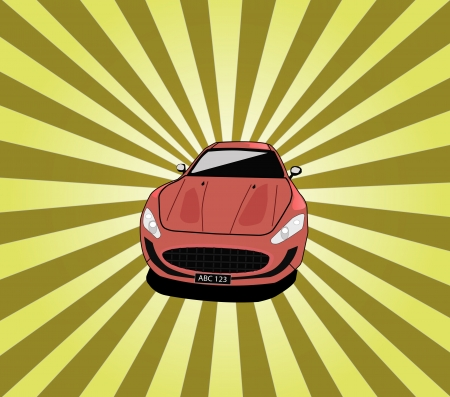 Sports car with shining rays background
