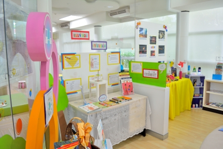 A children s display inside a library