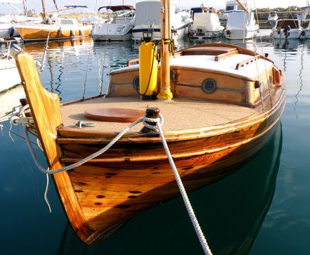 old wooden sailing boat in marina in Split, Croatia        Stock Photo
