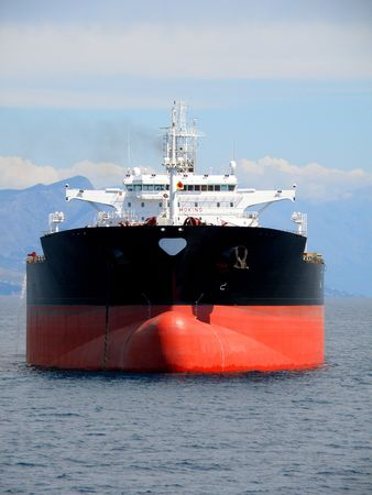vessel: Black oil tanker anchored on Split, Croatia